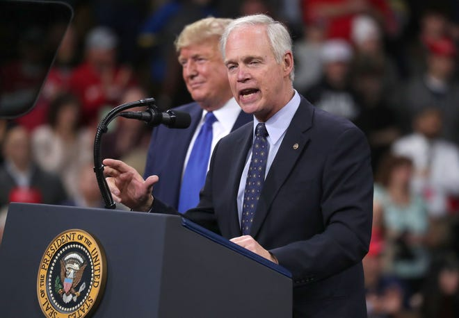 Sen. Ron Johnson speaks as President Donald Trump invited him to speak after he was introduced at the UW-Milwaukee Panther Arena where the president held a campaign rally in Milwaukee on Tuesday, Jan. 14, 2020.