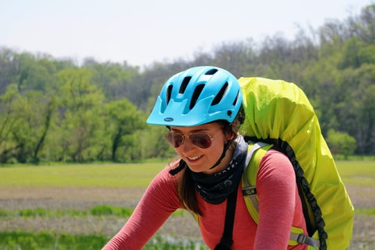 A Driftless 250 participant bikes through Wisconsin's Driftless Region.
