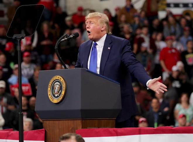 President Donald Trump speaks at the UW-Milwaukee Panther Arena where the president held a campaign rally in Milwaukee on Tuesday, Jan. 14, 2020. Photo by Mike De Sisti / Milwaukee Journal Sentinel  ORG XMIT: DBY1