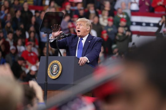 President Donald Trump spoke at a rally earlier this year at UW-Milwaukee Panther arena.