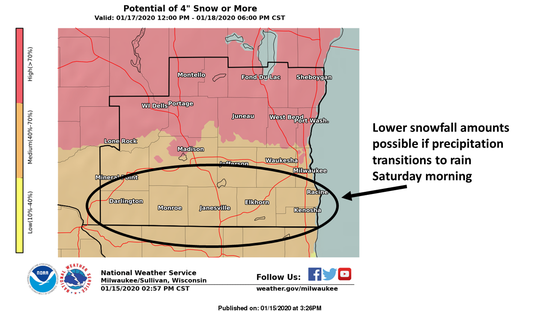 Snow is expected across southern Wisconsin on Friday into Saturday, with more snow expected north of I-94. Forecasters say there is uncertainty with the forecast and that things could change as the weather system moves closer to the region.