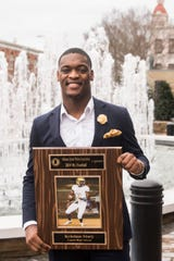 Lanett's Kristian Story is named 2019 Alabama Mr. Football  during the 2019 Mr. Football awards banquet at Renaissance Hotel in Montgomery, Ala., on Wednesday, Jan. 15, 2020.