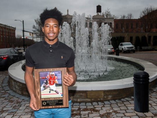 Macon East's Cephus Cleveland is named the AISA back of the year during the 2019 Mr. Football awards banquet at Renaissance Hotel in Montgomery, Ala., on Wednesday, Jan. 15, 2020.