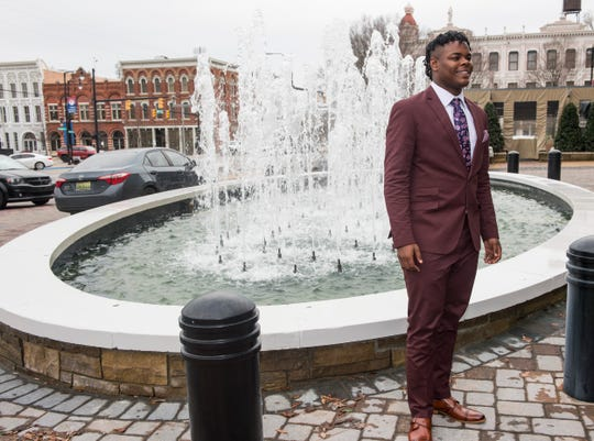 Mr. Football finalist Park Crossing's Khurtiss Perry poses for pictures during the 2019 Mr. Football awards banquet at Renaissance Hotel in Montgomery, Ala., on Wednesday, Jan. 15, 2020.