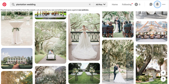 """A search for """"plantation weddings"""" on Pinterest still yields results, although a message informs users that some pins have been reported for violating the company's policies."""