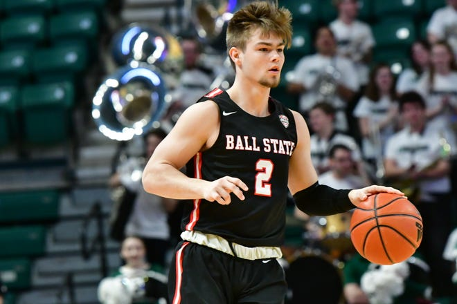Ball State freshman guard Luke Bumbalough moves with the ball during the Cardinals' game against Eastern Michigan.