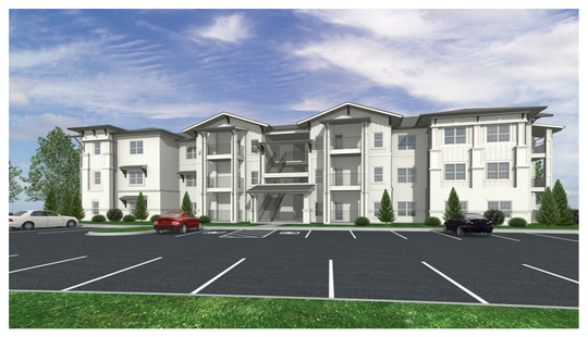 This rendering shows what the Farmhouse apartment complex buildings will look like on the south side of John Bragg Highway.
