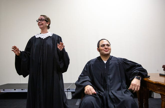 Lauren Cook and Camron Gray rehearse a scene from Scalia/Ginsburg an opera by Derrik Wang, Wednesday, Jan. 15, 2020, at the Wang Opera Center in East Naples.
