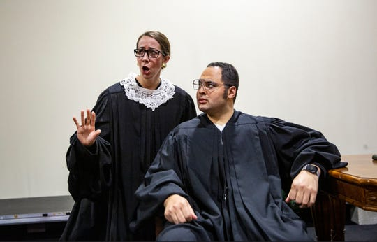 Lauren Cook and Camron Gray star in Scalia/Ginsburg an opera by Derrik Wang, Wednesday, Jan. 15, 2020, at the Wang Opera Center in East Naples.