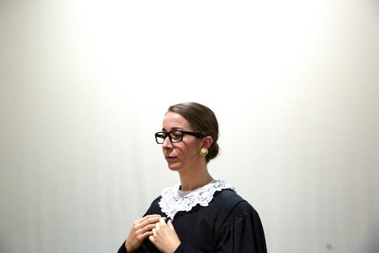 Lauren Cook stars as Supreme Court Justice Ruth Bader Ginsburg in Scalia/Ginsburg an opera by Derrik Wang, Wednesday, Jan. 15, 2020, at the Wang Opera Center in East Naples.
