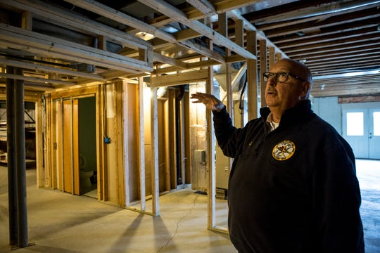 Hebron Fire Chief Clifford Mason shows the basement in the Refugee-Canyon Fire District's firehouse that is currently being renovated. The walls and ceiling wall all be drywalled to conform to code.
