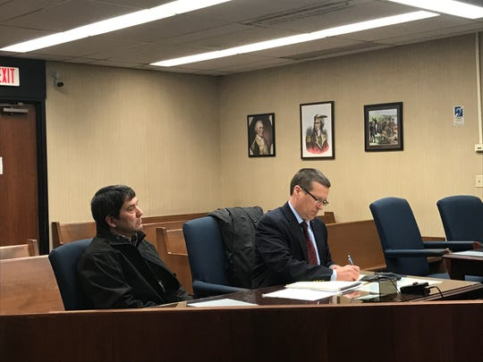 """Richard """"Rich"""" Campitelli Jr. (left) sits beside his attorney, Robert Calesaric, during a change of plea hearing in Licking County Municipal Court on Wednesday, Jan. 15, 2019. Campitelli pleaded guilty to misdemeanor charges of operating a vehicle while under the influence and driving within marked lanes during the hearing."""