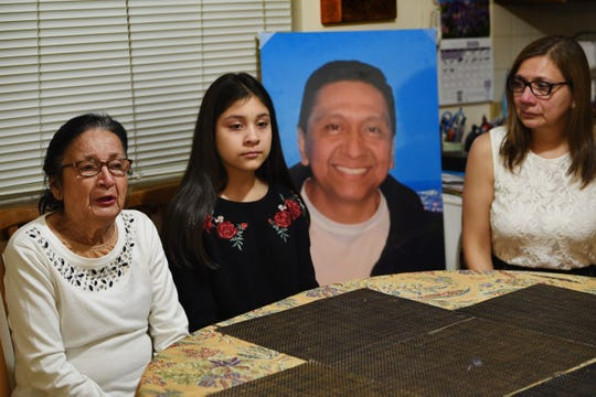 Martha Freire, R, the widow of Douglas Miguel Rodriguez Barzola, who was killed in the Jersey City kosher market last month, is being interviewed together with her daughter Amy Rodriguez,11, and Amy's grandmother Colombia Carrasco at their home in Harrison on 01/13/2020.