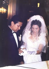 Copy photo of Martha Freire and Douglas Miguel Rodriguez Barzola when they got married in 1997 in Ecuador. Douglas Miguel Rodriguez was killed in the Jersey City kosher market last month. All photos are courtesy of Martha Freire.