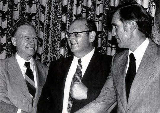 From left to right, co-owner of the New York Giants Wellington Mara, general manager George Young and Wellington Mara's nephew, Tim Mara, in 1979. Young, who was the Giants' GM from 1979-97, was one of the most influential figures in the team's history, having led them to their first two Super Bowl victories.