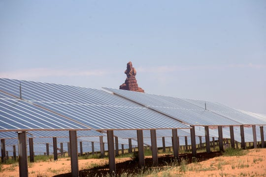 The Kayenta Solar Project is pictured on July 6, 2017 in Kayenta, Arizona. The project is the first large-scale solar energy facility on the reservation and operated by the Navajo Tribal Utility Authority.
