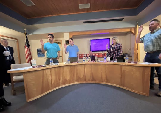 Ruidoso School Board members sworn in by Ruidoso Magistrate Court Judge Katie Lund  at the Jan. 14, 2020 meeting. Member Wally Murillo, Vice President Marc Beatty, Secretary Carrie Chavez, and member Shane Holder (left to right).