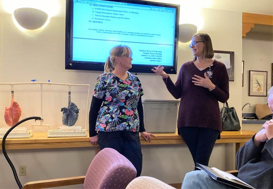 A presentation on vaping and related health issues was given during a regular school board meeting  Jan.14. by NM Department of Health nurse Laura Wilson and School Based Health Center Coordinator Ashlee McEwen. (left to right).