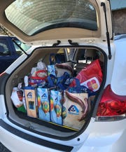 A trunk full of gifts waiting to be distributed in Mexico.