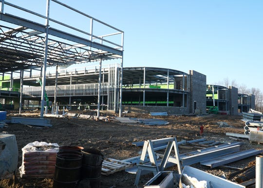 Work continues on Jan. 15, 2020 on additions to Northville's Hillside Middle School. Additional classrooms and facilities are being constructed just to the west of the main building.