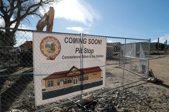 A sign for a future gas station and convenience store built by Santa Rosa Band of Cahuilla Indians sits near Highway 74 in Mountain Center, Calif. on Wednesday, Jan. 15, 2020.