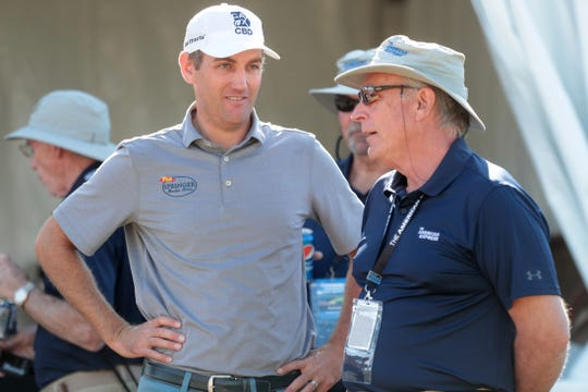 Brendon Todd chats with tournament staff at The Stadium Course at PGA West in La Quinta, Calif., during The American Express pro-am on Wednesday, January 15, 2020.
