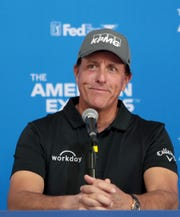 The American Express tournament host Phil Mickelson answers questions from the media at The Stadium Course at PGA West in La Quinta, Calif., on Wednesday, January 15, 2020.