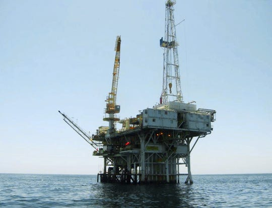 This undated photo provided by the California State Lands Commission shows Platform Holly, an oil drilling rig in the Santa Barbara Channel offshore of the city of Goleta, Calif.