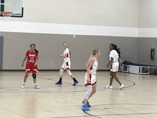 Jan. 2, 2020; Leading Edge Academy girls basketball teammates (left to right in white) Carlee Smith, Morgan Smith and Brionna Smith play in Chandler Prep New Years Classic consolation game against Monument Valley.