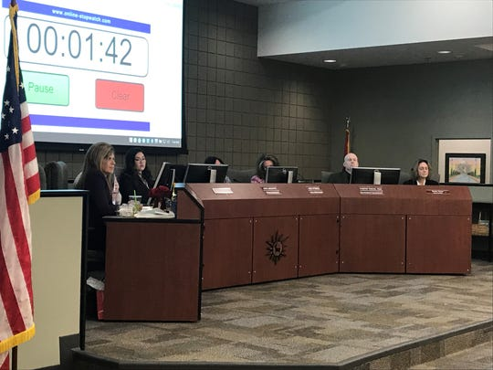 The Deer Valley Unified School District Governing Board listens to public comment about proposed high school boundary changes.