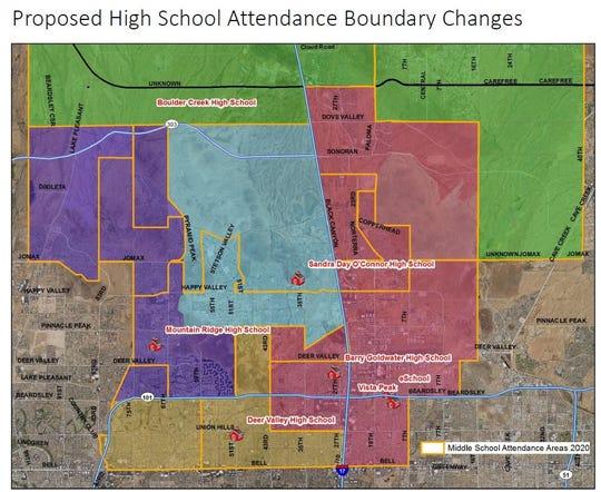 New high school boundaries in the Deer Valley Unified School District.