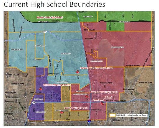 The current high school boundaries in Deer Valley Unified School DIstrict