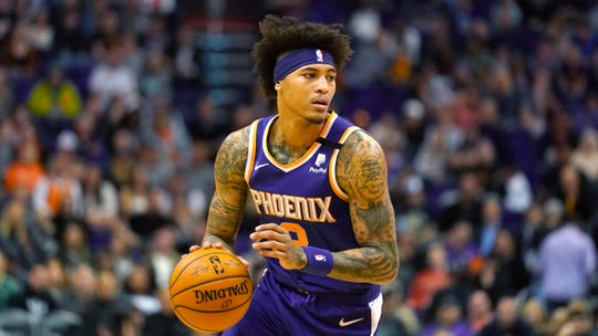 Phoenix Suns forward Kelly Oubre Jr. (3) during the first half of an NBA basketball game against the Charlotte Hornets Sunday, Jan. 12, 2020, in Phoenix. (AP Photo/Rick Scuteri)