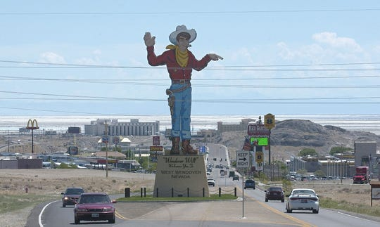 Wendover Will overlooks West Wendover, Nevada. Since Utah started selling stronger beer, alcohol sales have dropped in the border town.