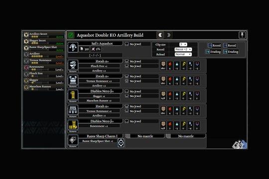 The base Aquashot Double KO  Artillery and Slugger build for Monster Hunter World: Iceborne.