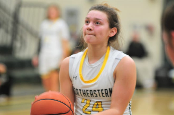 Jenna McFarland (24) scored 13 points in a 49-41 win over Tri on Tuesday night to move into second on Northeastern's all-time scoring list. The junior now has 905 career points and only trails Amy Wright's 1,613 points.