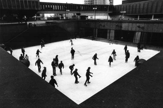 Skaters enjoy the rink at Xerox Square.
