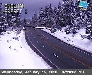 Highway 89 in Siskiyou County between I-5 and McCloud via a Caltrans camera on Wednesday, Jan. 15, 2020.