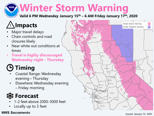 The National Weather Service has issued a winter storm warning through the morning of Friday, Jan. 17, 2020.