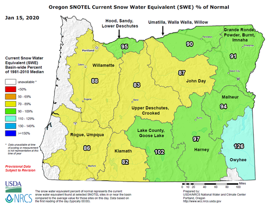 Current snow water equivalent as percent of normal in Oregon.