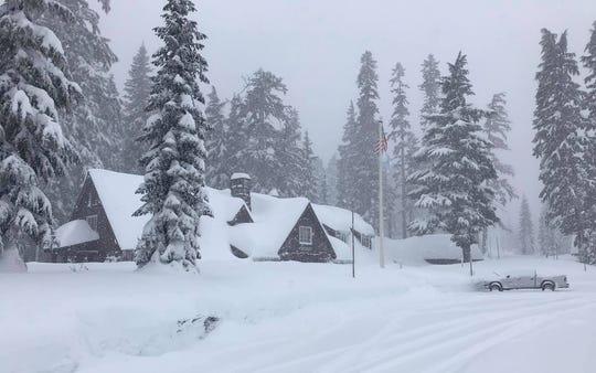 Snowfall at Crater Lake National Park headquarters on Monday, Jan. 13.