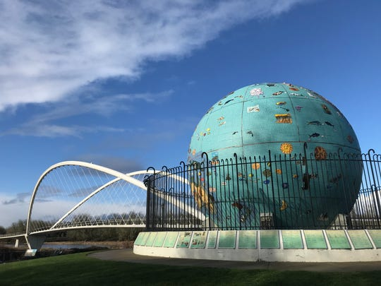 Eco-Earth, the massive mosaic tile sculpture near the Peter Courtney Minto Island Bridge at Riverfront Park in Salem, looks grand from afar on Tuesday, Jan. 14, 2020, but is in need of restoration.