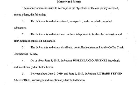 A portion of the indictment filed against Richard Alberts II and Joseph Lucio Jimenez in federal court on Dec. 19, 2019.
