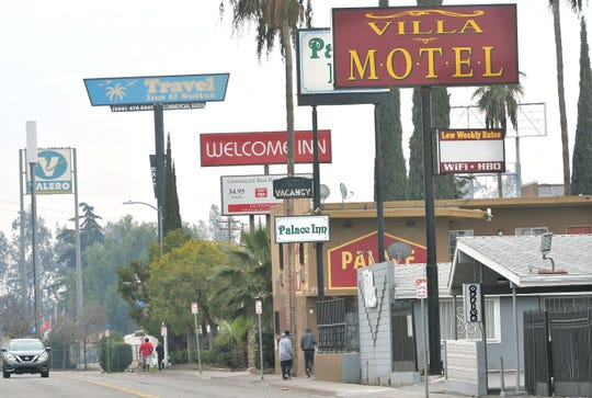 Motel row along Parkway Drive in Fresno between Belmont and Olive avenues on Jan. 14, 2020.