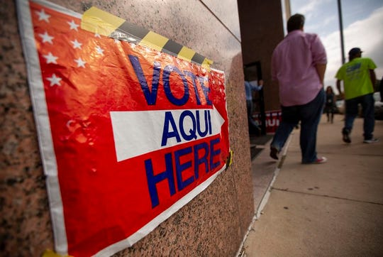 Voting signs at the Travis County Granger Building election site on Election Day, Nov. 5, 2019.