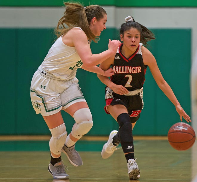 Rosemary Delgado, right, dribbles down the court for Ballinger during a game against Wall on Tuesday, Jan. 14, 2020.