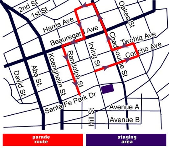 San Angelo Rodeo Parade route 2020.