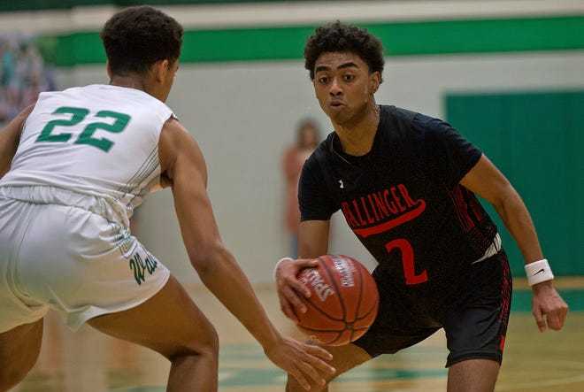 Kenjrik Manley, right, dribbles down the court for Ballinger during a game against Wall on Tuesday, Jan. 14, 2020.