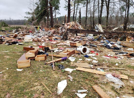 Pictured is the debris left behind from the EF2 Tornado that destroyed 87-year-old Ira Jefferson's home on Davis Road in the Haughton area.
