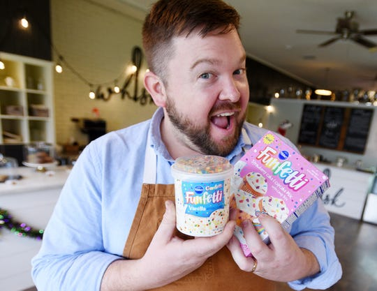 Blake Jackson with his favorite guilty food pleasure: Funfetti box cake with Funfetti icing in a can.